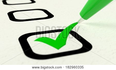 Extreme closeup of green pen putting a checkmark into a checkbox on papaer 3D illustration