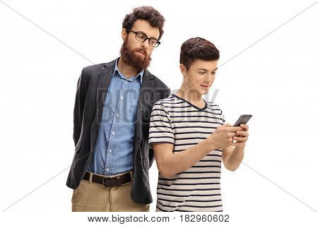 Concerned father peeking at the phone of his son isolated on white background