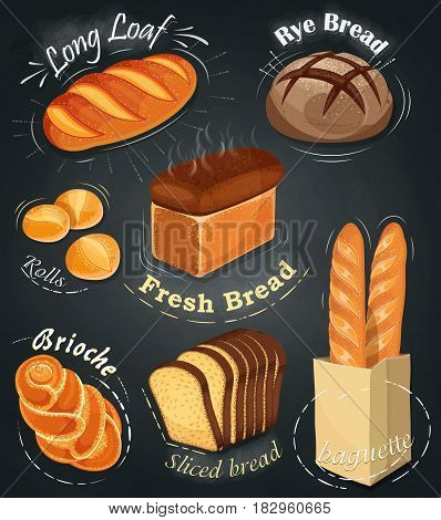 Advertising bakery on the chalkboard. Set of bakery products. Menu. Long loaf, rye bread, baguette, rolls, white bread, sliced bread, brioche. Vector illustration