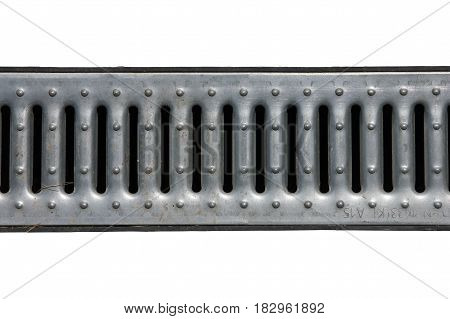 steel metal grey galvanized zinced drainage grate of drainage canal isolated on white background closeup