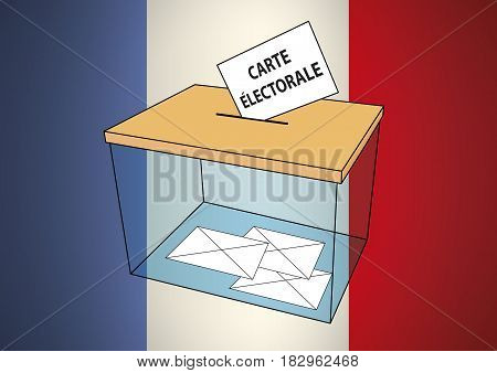 2017 French elections for president of french republic. Transparent ballot box with some votes into envelopes over a french flag. Vector illustration