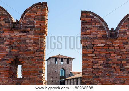 Merlons Of Castelvecchio Bridge Close Up