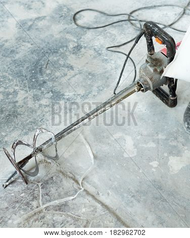 Drill stucco The spinning drill mortar for drilling a self leveling mortar terrazzo