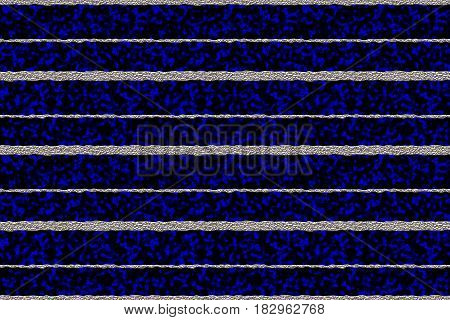 Silver metal uneven horizontal stripes 3D illustration against a dark blue and black plasma seamless background
