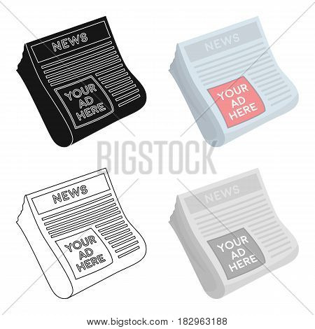 Classified ads in newspaper icon in cartoon style isolated on white background. Advertising symbol vector illustration.