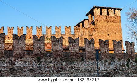 Castelvecchio Castel In Verona City At Sundown