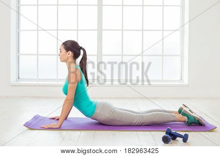 Young woman sport workout doing exercise activity