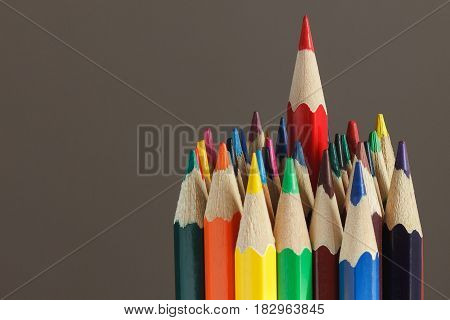 Heap Of Colored Pencils, Dark Background