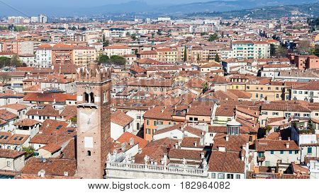 View Of Verona City With Torre Del Gardello