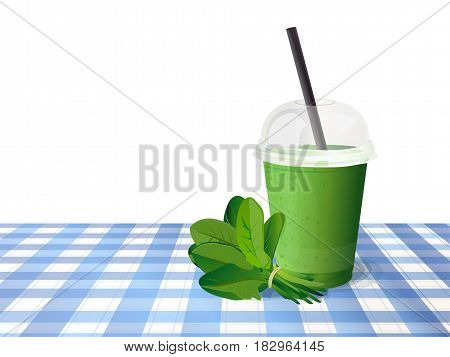 Smoothie fresh healthy detox natural spinach green plastic cup to go straw. Beautiful vector horizontal illustration freshness diet drink cocktail on blue checkered tablecloth and white background