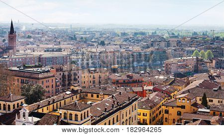 Above View Of Verona Town With Lungadige