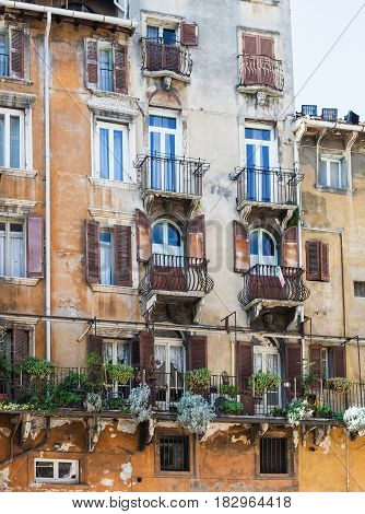 Facade Of Old Urban House In Verona City