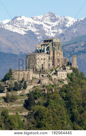 View of the Sacra di San Michele or Saint Michael's Abbey religious complex under Benedictine rulein Piedmont northern Italy.