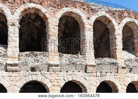 Wall Of Arena Di Verona Ancient Roman Amphitheatre