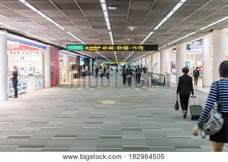 BANGKOK THAILAND - MARCH 17 2017: Terminal airport The connection between the plane and the airport and the number is pointing to the gateway. On the way there are many branded stores.