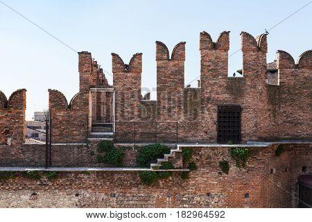 M-shaped Merlons On Walls Of Castelvecchio