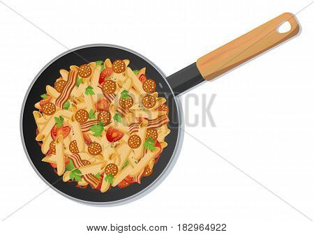 Pasta macaroni penne fresh hot salad: fried sausage salami tomato parsley sauce in frying pan. Vector close-up beautiful delicious rustic top sign view illustration of tasty meal on white background