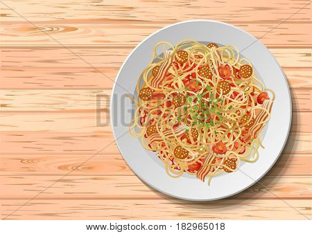 Pasta macaroni spaghetti carbonara: fried sausage salami bacon tomato parsley leaves plate. Vector horizotal closeup top view illustration fresh italian traditional meal on wooden background.