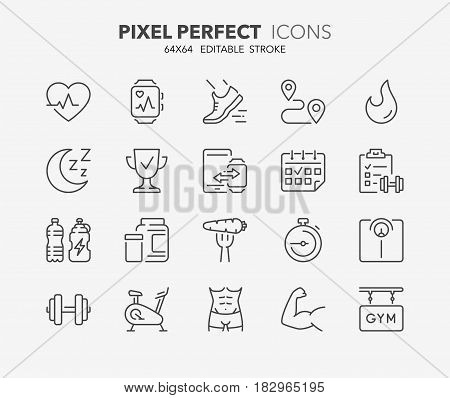 Thin line icons set of fitness gym and health care. Outline symbol collection. Editable vector stroke. 64x64 Pixel Perfect.