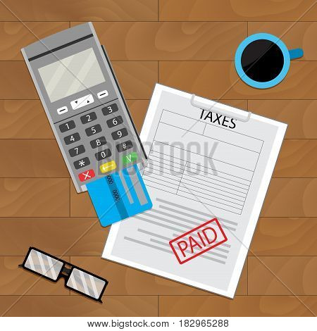 Payment tax flat earning and payday taxation and coffee vector illustration