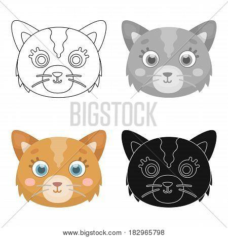 Cat muzzle icon in cartoon design isolated on white background. Animal muzzle symbol stock vector illustration.