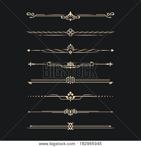 Set of calligraphical gold elements of design. Execution of the page. Allocation of the text in vintage style. Typographical partitions jewelry for books.