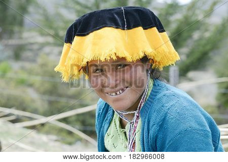 Portrait of a Quechua Indian woman from the Paru Paru Comunity Andes Mountain Peru