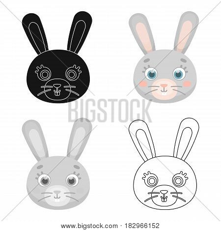 Rabbit muzzle icon in cartoon design isolated on white background. Animal muzzle symbol stock vector illustration.