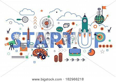 Colorful web banner, start up concept.Vector creative illustration of business start up big word with a lot of business icons. Typographic poster in modern flat style.