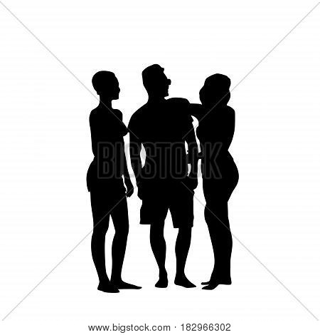 Silhouette Man Standing With Two Women Full Length Over White Background Vector Illustration