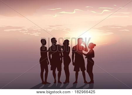 Silhouette People Group Stand Man And Woman Full Length Over Sunset Background Vector Illustration