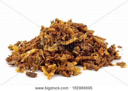 Propolis granules isolated on white background. Bee products. Apitherapy. Apiculture