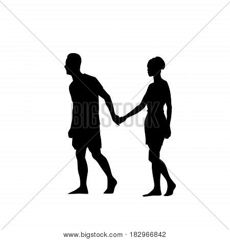 Silhouette Couple Man And Woman Walk Holding Hands Full Length Over White Background Vector Illustration