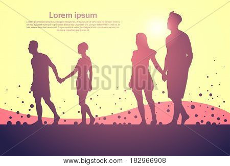 Two Silhouette Couple Man And Woman Walk Holding Hands Full Length Over Abstract Background Vector Illustration