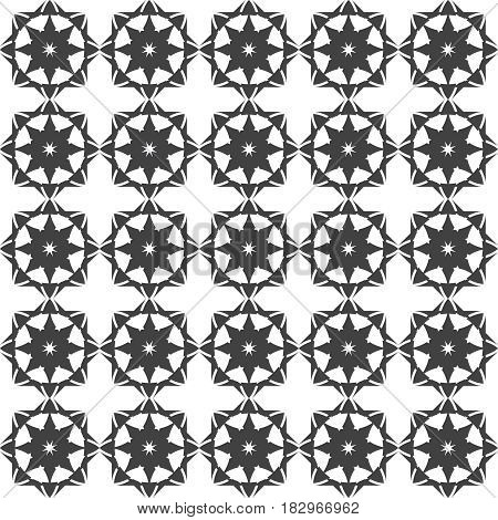 Gray white seamless pattern. Classical stylish geometric texture. Regularly repeating geometrical ornament with rhombuses stylized flowers crosses. Vector element of graphic design
