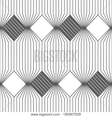 Vector seamless pattern. Infinitely repeating modern geometrical texture consisting of thin lines which form hexagonal linear grid with striped hexagons and rhombuses.