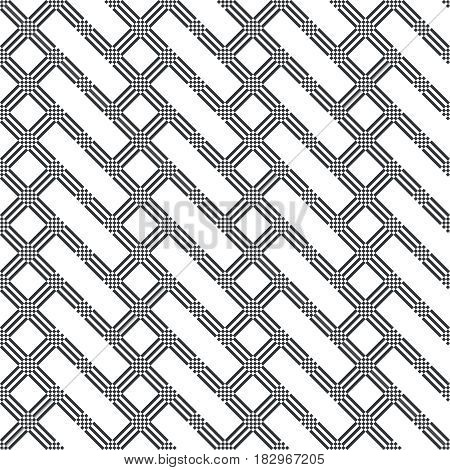 Vector seamless pattern. Infinitely repeating modern geometrical texture consisting of strips and small rhombuses which form stylish ornament with rectangle and rhombus shapes.