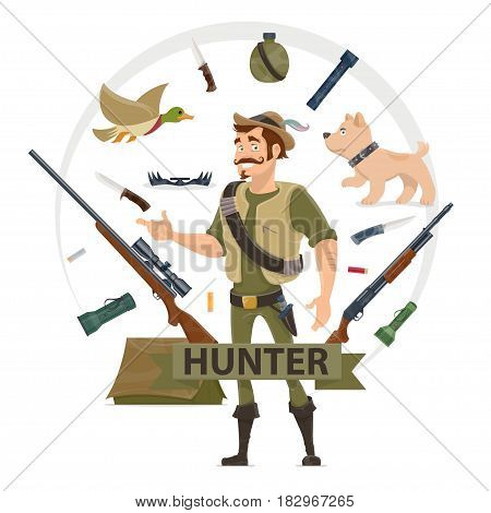 Colorful hunting elements concept with hunter weapons animals flashlights tent flask trap in circle isolated vector illustration