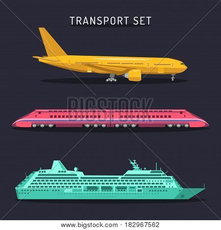 Vector set of transportation icons in flat style. Passenger plane, train and ship logotypes set. Travel, journey, tour, trip, voyage infographics illustrations.