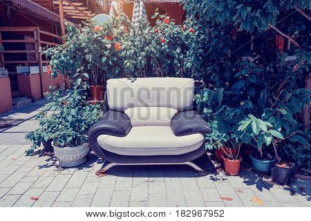 house garden front with sofa
