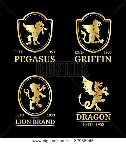 Vector crest monograms templates. Luxury pegasus, dragon, lion, griffin design. Graceful animals silhouettes illustration used for hotel, restaurant, boutique, jewellery invitation, business card etc.