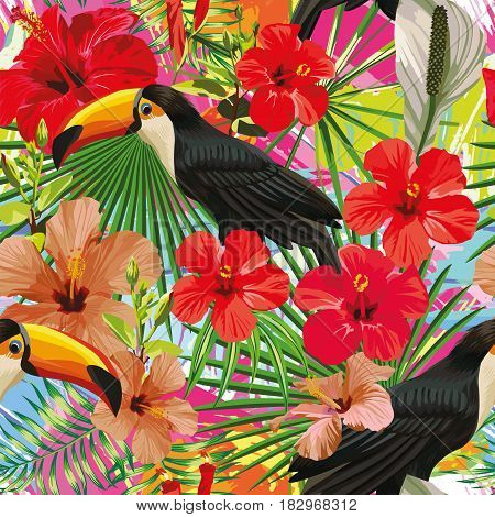 Exotic composition from tropical bird toucan leaves and hibiscus flowers seamless pattern colorful motley background