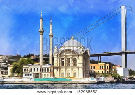 Colorful painting of Ortakoy Mosque, Istanbul, Turkey