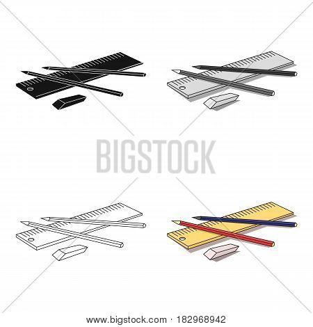 Drawing set of architect icon in cartoon design isolated on white background. Architect symbol stock vector illustration.