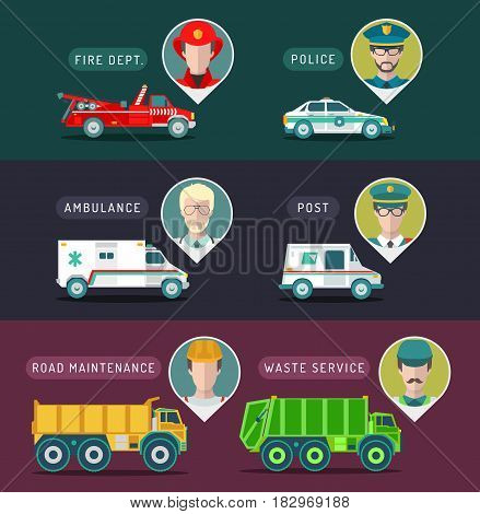 Vector city service infographics in flat style. Urban municipal transport with different professions men icons. Public, emergency, special vehicles illustration.
