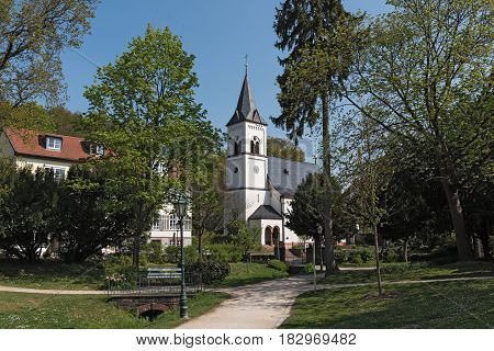 Source Park with Evangelical Church in Bad Soden am Taunus, Germany