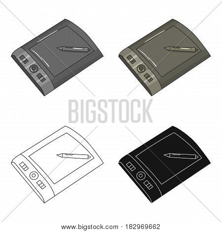 Drawing tablet with stylus icon in cartoon style isolated on white background. Artist and drawing symbol vector illustration.