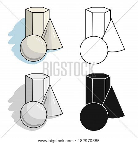 Geometric still life icon in cartoon style isolated on white background. Artist and drawing symbol vector illustration.