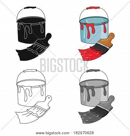 Bucket of paint and paintbrush icon in cartoon style isolated on white background. Artist and drawing symbol vector illustration.