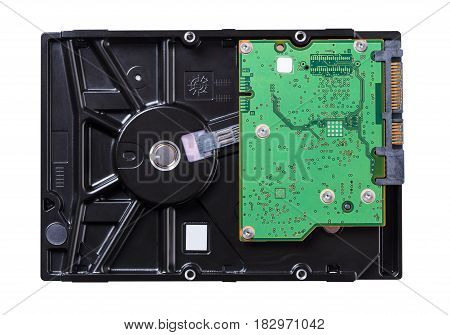 Computer hard drive on white isolated background
